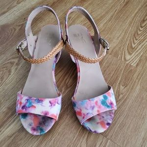 Watercolor Cork Wedge Sandals